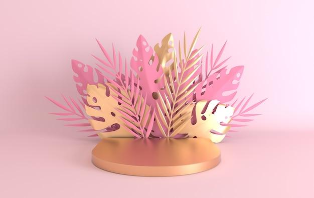 Palmier en papier tropical, cadre de feuilles et de fleurs de monstera, plate-forme de podium pour la présentation du produit