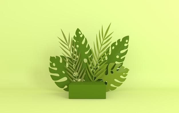 Palmier en papier tropical, cadre de feuilles de monstera, plate-forme podium pour la présentation du produit