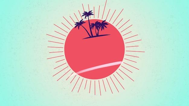 Palmiers d'été et soleil rouge avec des rayons, fond vert