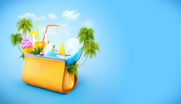 Palmiers tropicaux et vague océanique dans un sac à main décontracté pour femmes ouvert illustration de voyage inhabituelle