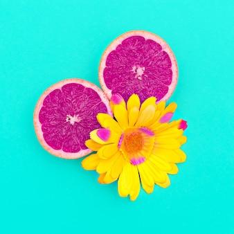 Pamplemousse et fleur. art minimal. concevoir