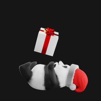 Panda en chapeau de père noël mascotte rendu 3d