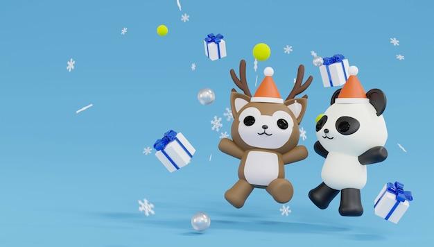 Panda de rendu 3d, thème de renne joyeux noël et bonne année.