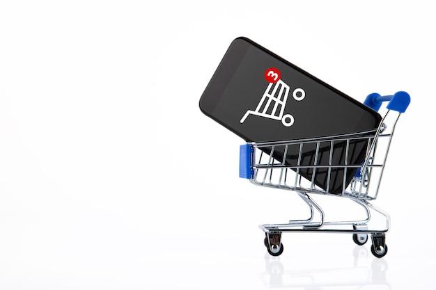 Panier d'achat, chariot de supermarché, commerce électronique