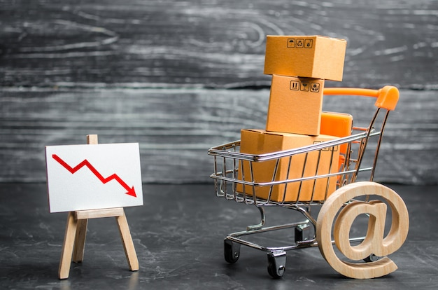 Panier d'achat contenant des boîtes, un symbole d'e-mail et une flèche rouge. réduction des ventes en ligne