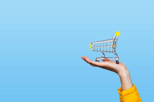 Panier d'achat en mains féminines sur un bleu. concept d'achat, shopping, achats en ligne