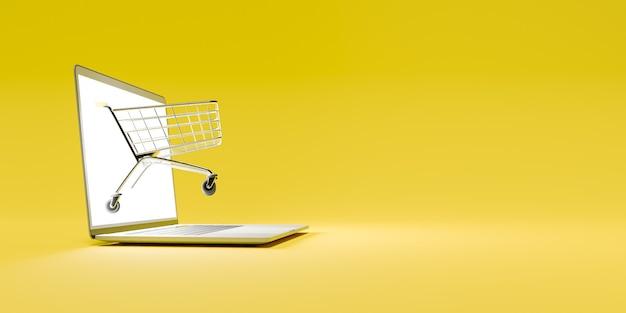 Panier d'achat sortant d'un écran d'ordinateur allumé en jaune