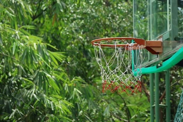 Panier de basket avec des arbres verts
