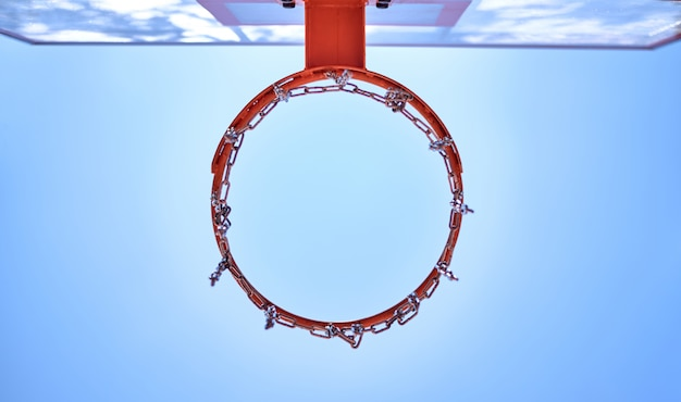 Panier de basketball vu de dessous