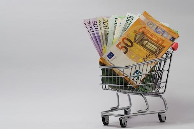 Panier avec des billets en euros de diverses coupures