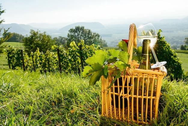 Panier avec des bouteilles et un verre de vin blanc dans les vignes