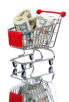 Panier du marché avec de l'argent
