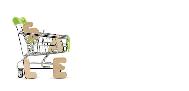 Panier d'épicerie avec la vente de lettres
