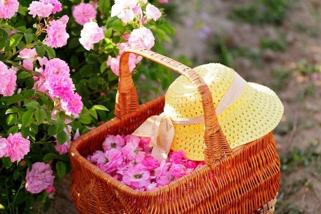 Panier avec fleur de roses à l'huile rose.