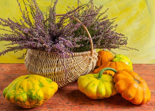 Panier avec fleurs et citrouille sur fond jaune orange nature morte d'automne