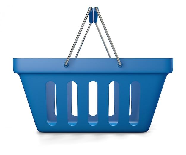 Panier de magasin vide bleu isolé