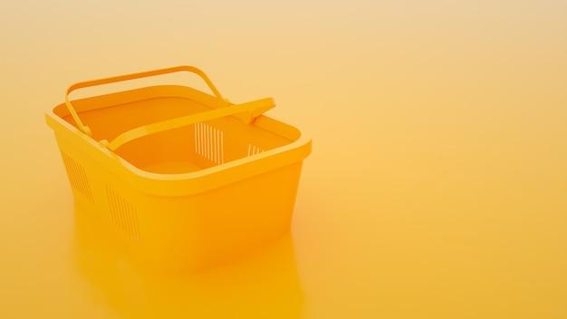 Panier de nourriture sur fond jaune