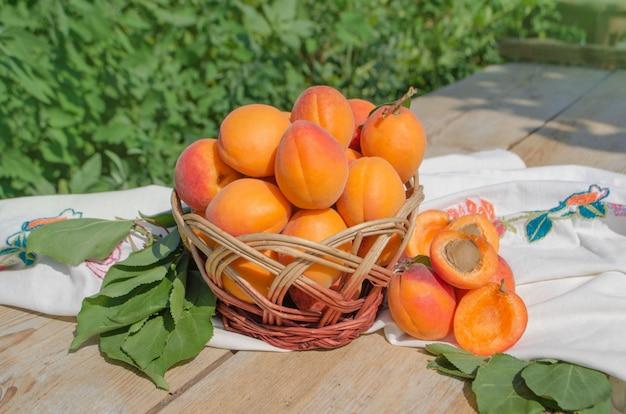 Panier en osier avec des abricots frais