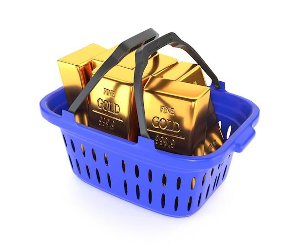 Panier en plastique et lingots d'or isolés sur fond blanc. réserves d'or et de devises. illustration 3d