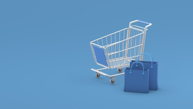 Panier et sacs sur fond bleu rendu 3d rendu 3d illustration 3d