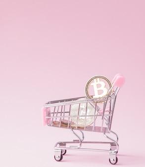 Un panier d'un supermarché, bitcoin sur un bois