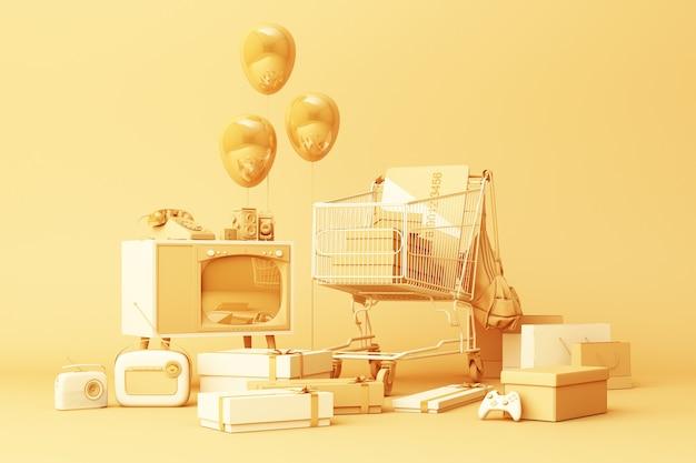 Panier de supermarché entouré par boîte-cadeau avec carte de crédit et de nombreux gadgets sur fond jaune. rendu 3d