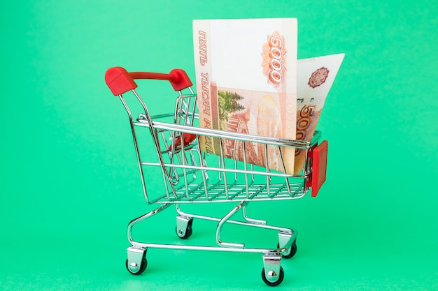 Panier de supermarché, à l'intérieur de cinq mille roubles russes.