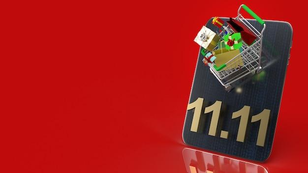 Le panier sur tablette et texte or 11.11 pour le rendu 3d de contenu commercial.