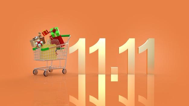 Le panier et le texte d'or 11.11 pour le rendu 3d de contenu d'achat.