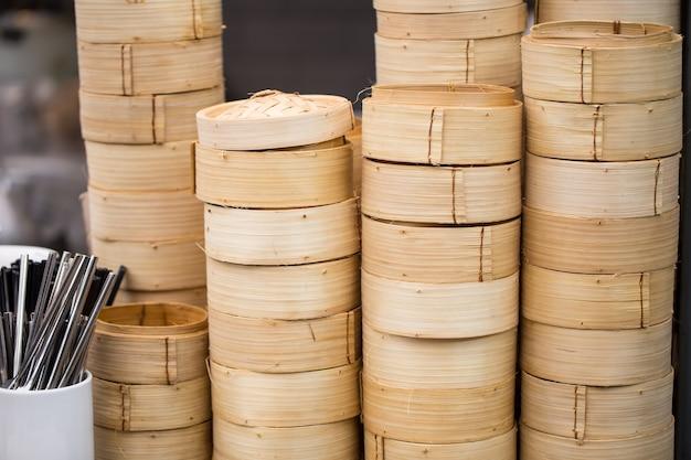 Panier à vapeur en bambou dim sum.