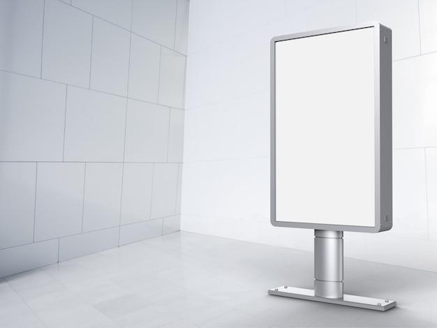 Panneau d'affichage vertical de rendu 3d avec fond de carreaux blancs