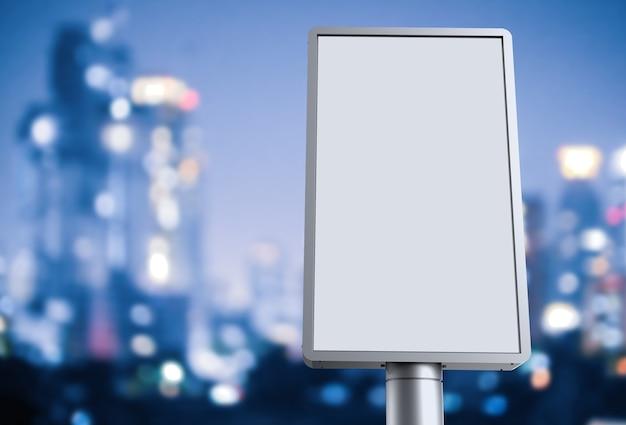 Panneau d'affichage vertical de rendu 3d sur fond de paysage urbain
