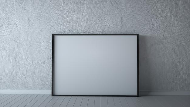 Panneau d'affichage vide horizontal sur un mur de pierre grise, rendu 3d de la salle blanche.
