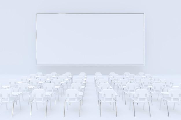 Panneau d'affichage vide, maquette, salle de conférence ou de réunion, écran blanc. rendu 3d.