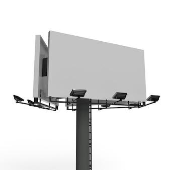Panneau d'affichage vierge avec spot publicitaire isolé blanc