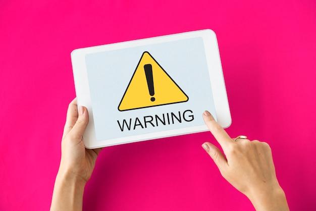 Panneau d'avertissement attention icône mot