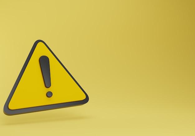 Panneau d'avertissement jaune réaliste. rendu 3d