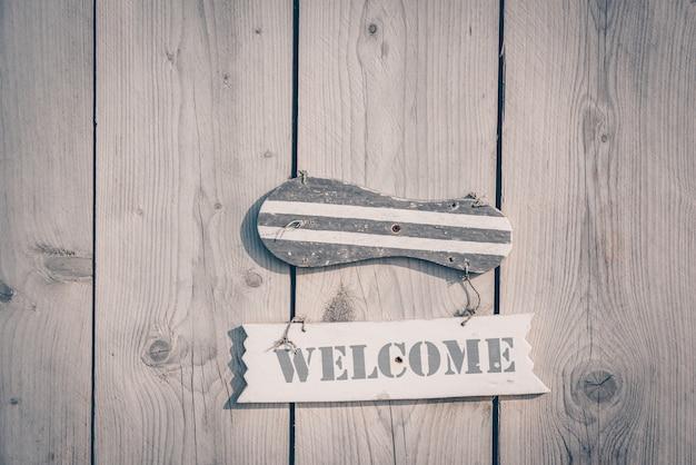 Panneau de bienvenue en bois de style rustique