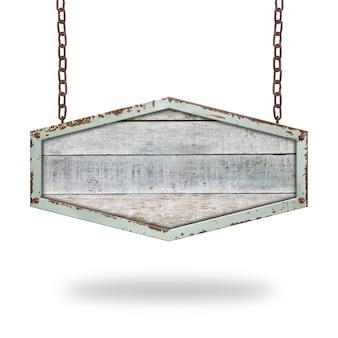 Panneau en bois suspendu à une chaîne isolé sur fond blanc.