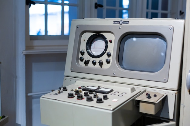 Panneau de communication rare au musée de l'électronique radio