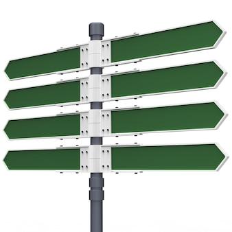 Panneau de direction vide avec 8 flèches isolé sur blanc