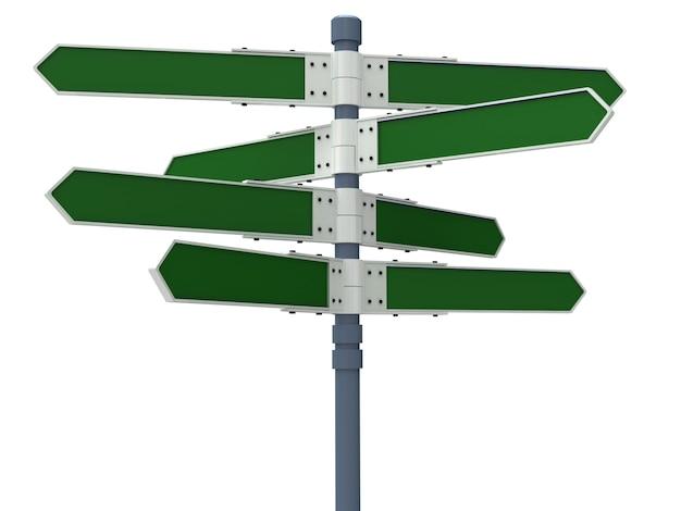 Panneau de direction vide avec 8 flèches isolées