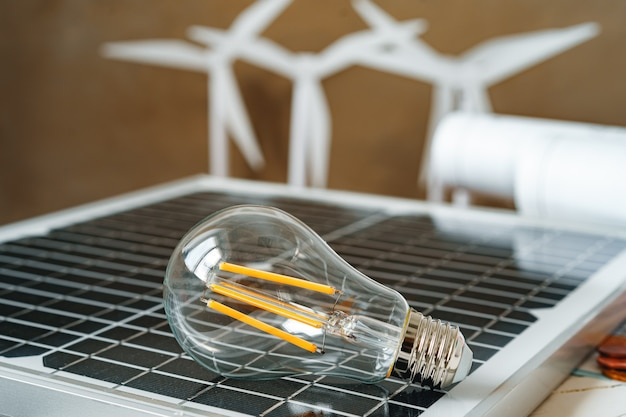 Panneau d'énergie solaire et ampoule énergie verte