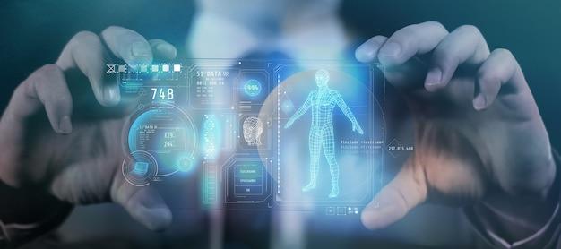 Panneau de gadgets du futur avec des données sur un rendu 3d d'une personne