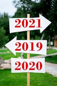 Panneau indiquant l'avenir et l'année dernière 2021