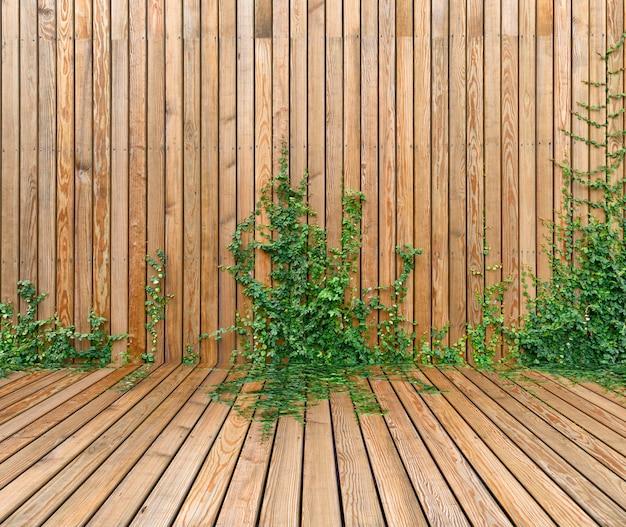 Panneau mural en bois avec plante de lierre