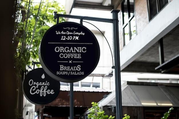 Panneau publicitaire café bio