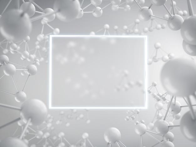 Panneau publicitaire vierge avec rendu 3d d'atomes blancs