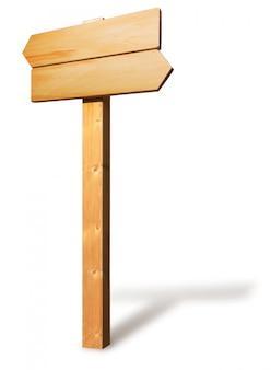 Panneau de signalisation en bois. double direction. isolé