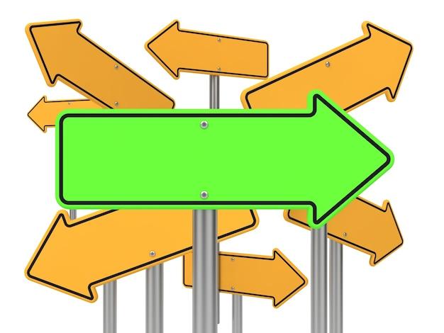 Panneau de signalisation de flèche directionnelle verte et quelques jaunes